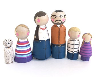 Custom peg family of 6 // 2 parents // 4 kids/pets // personalized peg dolls // modern doll house // custom family portrait // wooden dolls