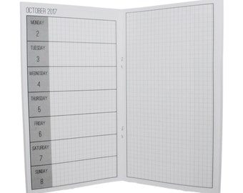 2017 Week on One Page + Grid Notes Planner {Large/Cahier Size} Traveler's Notebook Insert Booklet