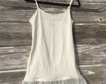 Lace Tank top, Lace Sweater extender in Ivory