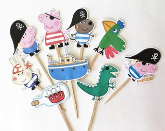 George Pig Pirate Cupcake toppers/Toppers/George Pig/Peppa Pig/Boy Party/Girl Party