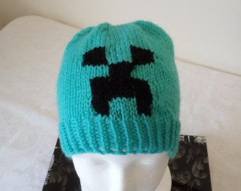 Hand knitted Minecraft Creeper hat by Liz