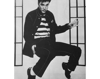 """Vintage Elvis Presley Jailhouse Rock Art Print (8""""x10"""")  Print Only or Framed in 1"""" black wood frame"""