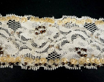 """2 yd / 1.8 mts  Beige Stretch Lace Trim with Beige Sequin & Copper Bead Craft 1-3/4"""" / 4.4cm width  L555"""