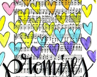Standing on the Promises of God 5x7 Print Hymn Fine Art Hymnal Watercolor Painting Praise Sheet Music Hand Lettering Calligraphy War Room