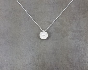 Seashell Clam Pearl Silver Plated Necklace in Gift Box Choker Fashion Ocean Sea Mermaid Mollusk Animal
