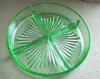 Green Depression Glass Relish Tray Divided Dish