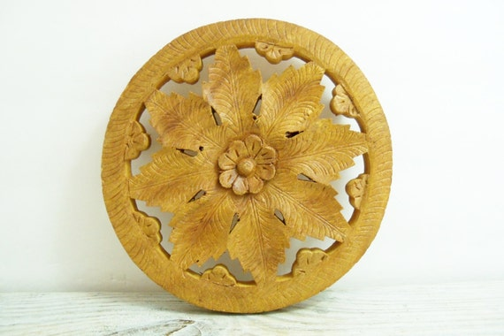 Vintage Teak Wooden Trivet Round  Hand Carved Eight Leaf Design Made In India With A Daisy in the Center 1970s