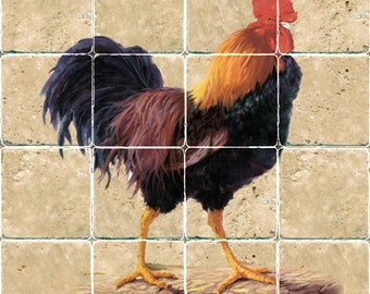 1189 Colorful Rooster – 16×16 mural on 4×4 stone