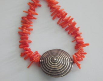 Vintage Coral Branch Choker Silver Tone Red Orange Coral Branch Choker Necklace