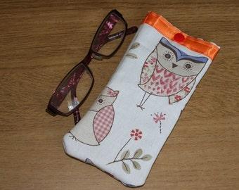 Owl glasses case, reading glasses case, spectacle case, owl, lined glasses case, retro gift, padded glasses case, reading glasses