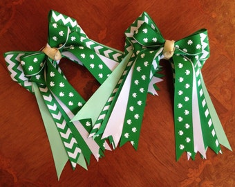 St. Patrick's Day Hair Bows/Horse Show Bows/Green Chevron & Shamrocks