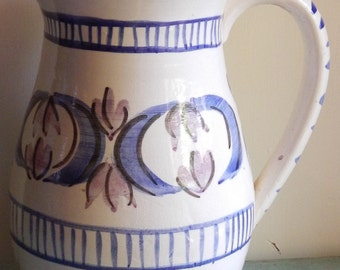 Folk Art Large Pottery Pitcher!