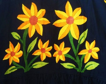 """MADE to ORDER Otomi quilt the """"Otomi GIRASOLES"""". Otomi Sunflower quilt 2x2 meters three months to complete"""