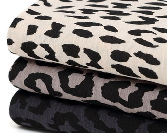 Leopard Cotton Blend Knit Fabric, Slub Knit Fabric by Yard - 3 Colors Selection