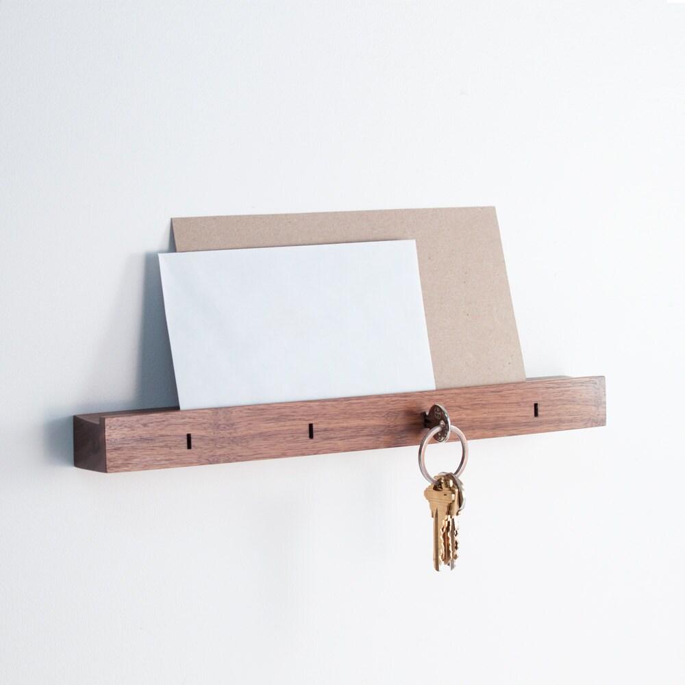Linear Wall Mounted Key Holder In Walnut