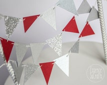 Banner Cake Topper, cake banner, Cake Topper. silver chevron straw, red and silver cake banner