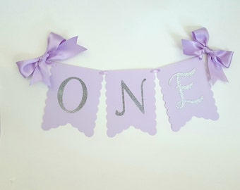 Lavender, light purple and silver High chair banner with satin ribbon bows. Silver and purple birtday. Sofia the first party. ONE
