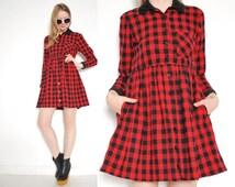 vintage 90s dress red black buffalo plaid flannel babydoll grunge mini dress S