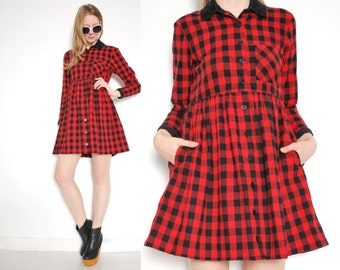 vintage 90s dress red black buffalo plaid flannel babydoll grunge mini dress S