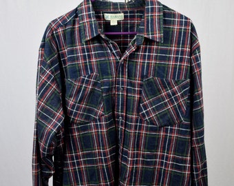 Haband Vintage Plaid Mens Button Down Long Sleeved Flannel Shirt