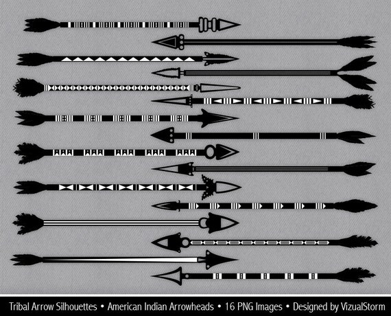 Tribal Arrow Silhouettes Clipart Native American Arrows