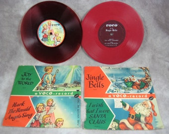 1950 XMAS Voco-Record Pair Children's Christmas Songs Carols w/picture sleeves