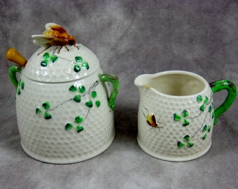 Honeycomb Clover Honey Pot or Sugar Bowl and Creamer ceramic SET - Japan - Bee Finial Beehive Vintage Kitchen Serving