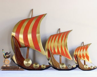 Mid Century Brass Teak Viking Ship Nautical Wall Decor Large Set Red Gold Wood Metal Boy Bedroom Nursery 1960s Norway Norwegian Scandinavian