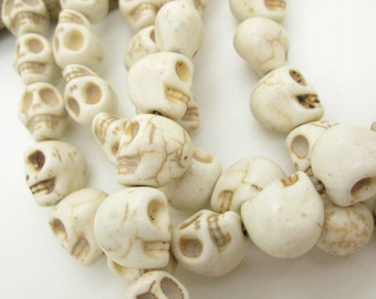 White Stone Skull Bead, Howlite Skull, Day of the Dead Skull, Halloween Skull Bead, 12mm Skull Bead (10)