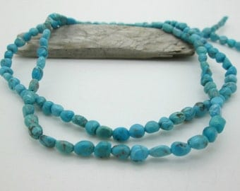 Small Blue Turquoise Nugget Beads, Hubei Turquoise, 3x4 to 4x6mm ((15.5 inch full strand)