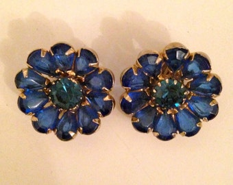 Weiss Blue Rhinestone Earrings, Weiss Cobalt Blue Rhinestone Earrings, Weiss Cobalt Blue Flower Rhinestone Earrings, Weiss Blue Pear Shaped