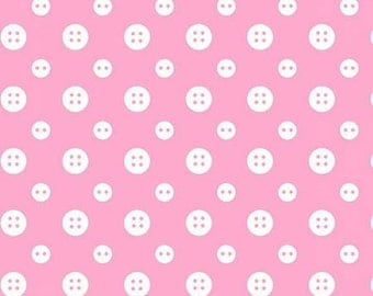 45'' Henry Glass & Co. Ric Rac Paddywack Pink Buttons Flannel by the Yard 6461-22