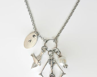 Crossbow with Bird and White Pearl - Charm Necklace with or without Initial - Jewelry for fans
