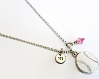 Baseball Pewter Charm Necklace with initial and Swarovski Birthstone - Personalized Jewelry