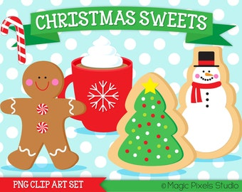 Christmas Clipart, Christmas cookies clipart, gingerbread man, snowman, candy cane, hot cocoa clipart, INSTANT DOWNLOAD