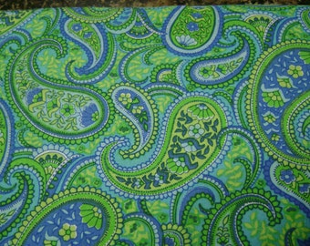 Paisley Green Turquoise Cotton Fabric Sold by the Yard