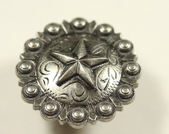 Fancy Western Style Cabinet Knob - Antique Silver