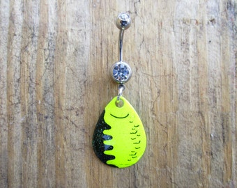 Fishing Lure Belly Button Ring, Neon Blade Navel Ring, Belly Barbell, Body Jewelry, Belly Button Jewelry.