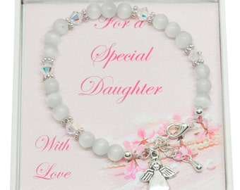 Girls Bracelet with Angel for Goddaughter, Daughter, Sister, Friend, Niece etc
