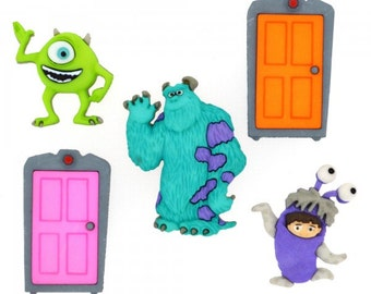 Disney Pixar Monsters Inc Button Set - Shaft Style Buttons - 1 Package