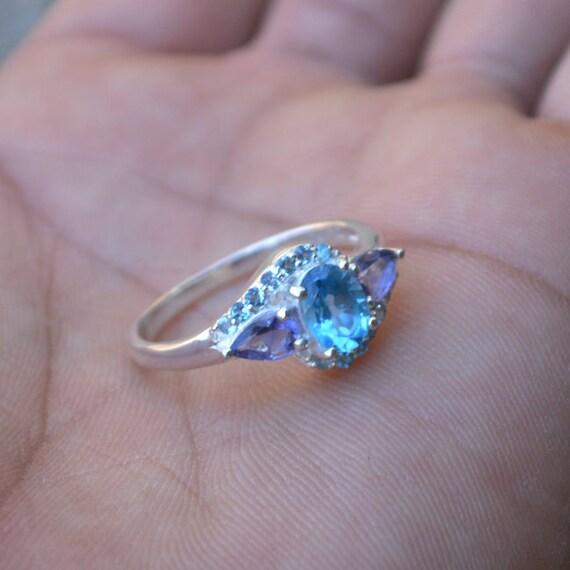 Blue Topaz Ring - Swiss Blue Topaz, Iolite, Zircon Ring size 8 - Mothers Day Gift ring - Blue Topaz, Iolite Artisans Jewelry