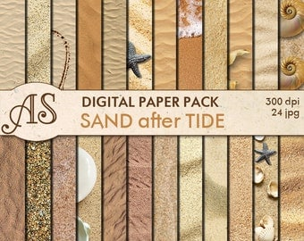 Digital Sand Paper Pack, 24 printable Digital Scrapbooking papers, fotorealistic Digital Collage, seaside clip art, Instant Download, set 29