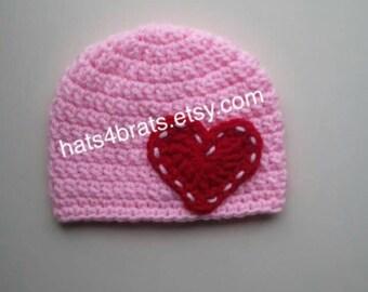 Baby Valentine's Day Hat, Crochet Valentine's Day Hat, Newborn Valentine's Day Hat, Baby Crochet Hat, Valentine's Day Photo Prop, Heart Hat