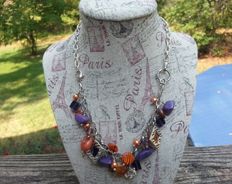 Clemson Orange and Purple Convertible Bracelet to Necklace with Beads and Charms