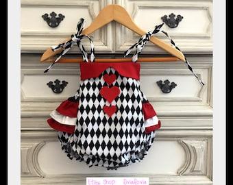Queen of Hearts Costume, Mad Hatter Romper, Mad Hatter Costume, Queen of Hearts Romper, Queen of Hearts, Alice in Wonderland Costume