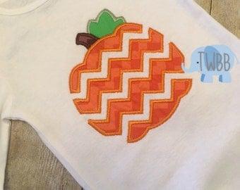 Chevron Halloween/Thanksgiving Pumpkin Onesie/Tshirt