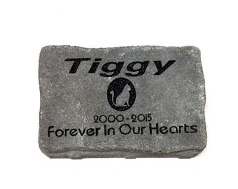 Garden Stone Cat Grave Markers Pet Memorial Personalised the way you want (Heavy duty weighs 10lbs protected with Armortech)