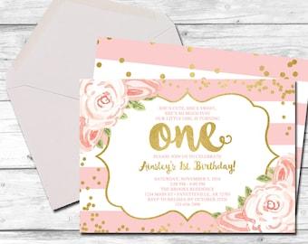 First Birthday Invitation, 1st Birthday Invitation, 1st Birthday, Birthday Invite, Pink and Gold, Blush Pink, Faux Gold, Printable 5x7
