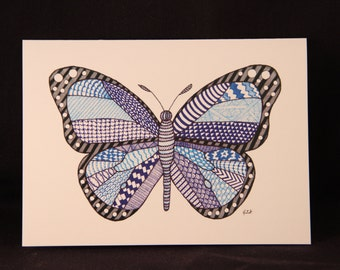 Butterfly - Notecard - note card - greeting card - doodle art