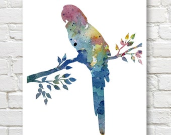 Macaw Art Print - Abstract Watercolor Painting - Wall Decor